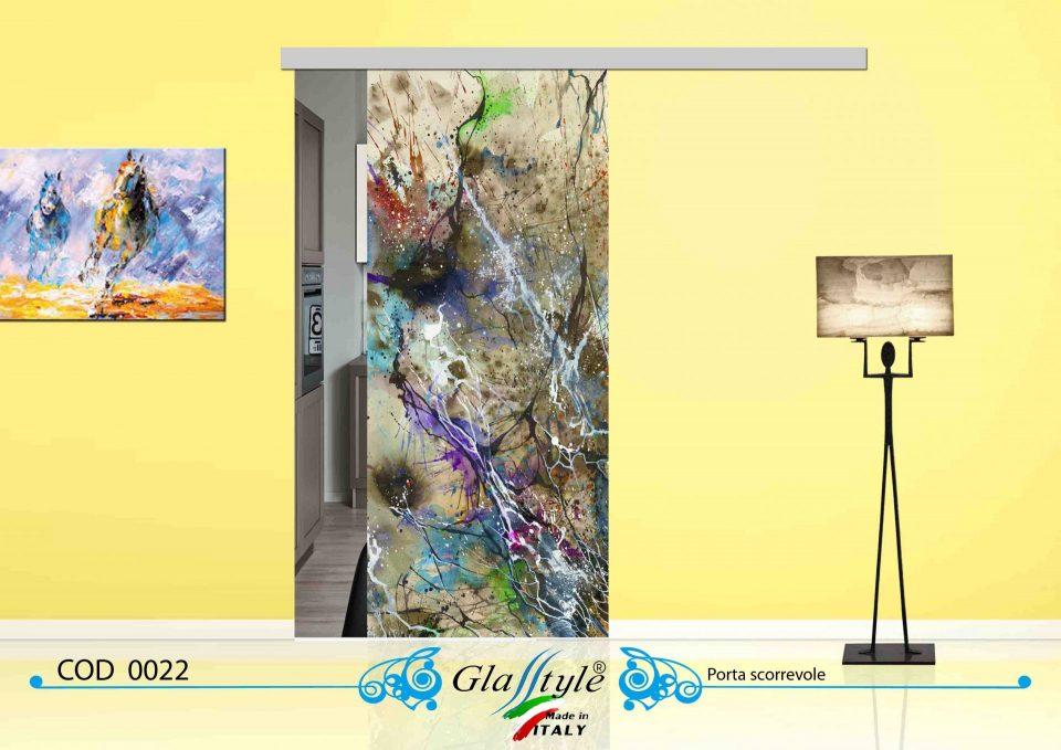 bellissima porta in vetro colorata scorrevole casa muro