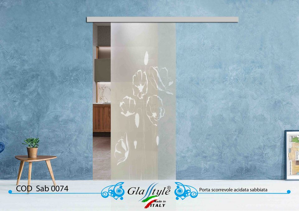 porta in vetro acidata con disegno sabbiato scorrevole esterno muro bellissima colorata